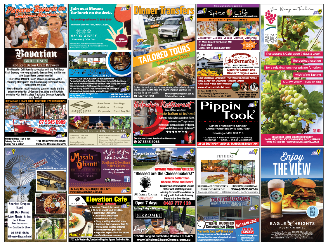 Eating Out, Good Food Guide Tamborine, Restaurants
