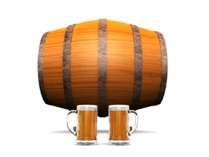 Beer barrel and glasses